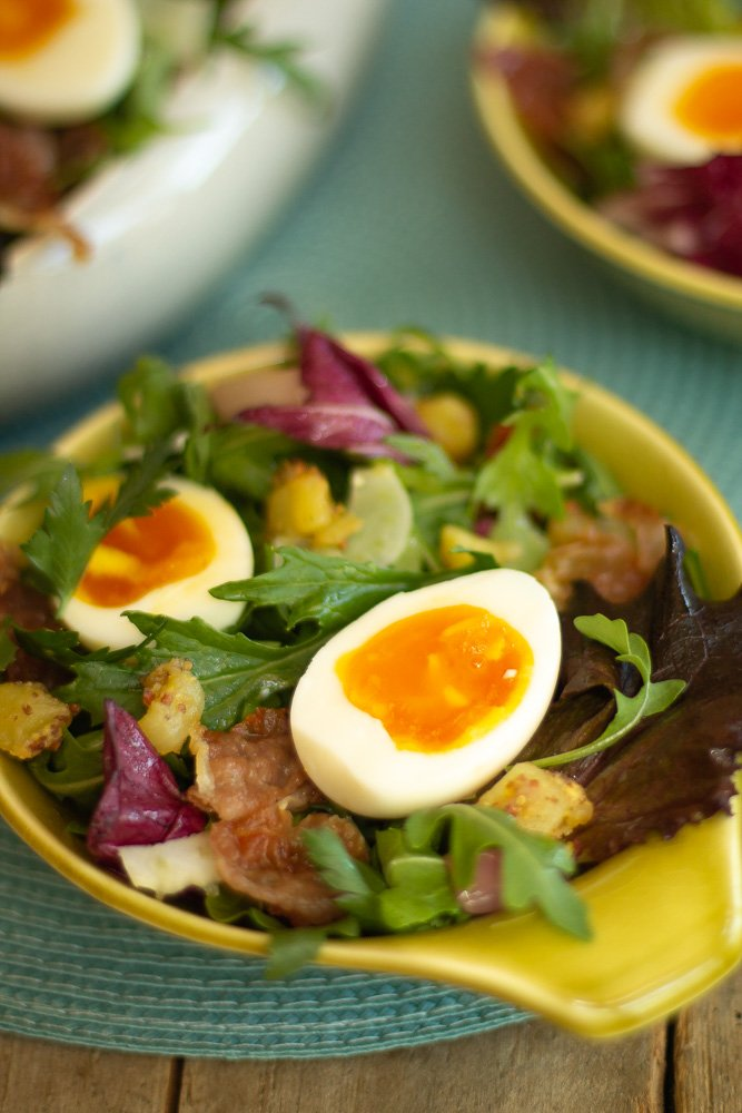 a chartreuse bowl with Savory Breakfast Salad