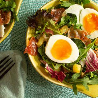 a green bowl of Savory Breakfast Salad