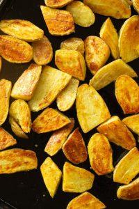 a sheet pan of roasted fingerling potatoes