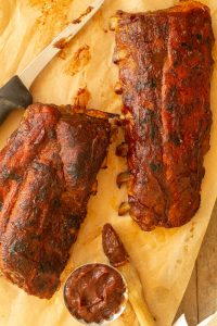two slabs of ribs that are broiled until caramelized
